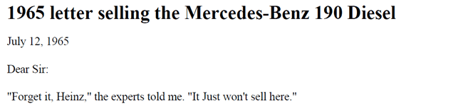 1965 Letter Selling the Mercedes-Benz 190 Diesel