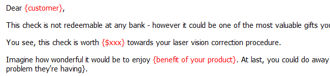 Letter Re: Fake Cheque Towards Eye Surgery