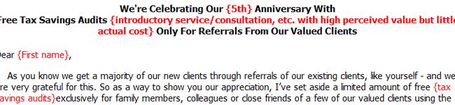 Letter to Stimulate Referrals