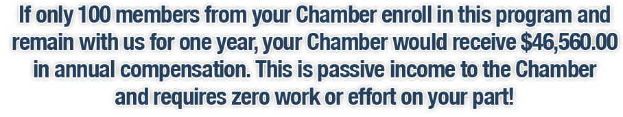 If only 100 members from your Chamber enroll in this program and remain with us for one year, your Chamber would receive $46,560.00 in annual compensation. This is passive income to the Chamber and requires zero work or effort on your part!