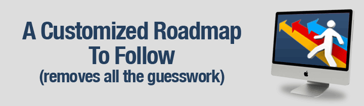 A Customized Roadmap To Follow (removes all the guesswork)